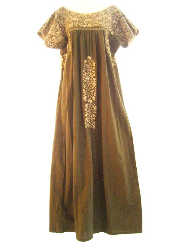 San Antonino Mexican maxi dress intricate Silk embroidery Olive & Gold