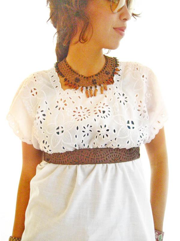 Gypsy white Mexican ethnic blouson eye let embroidery