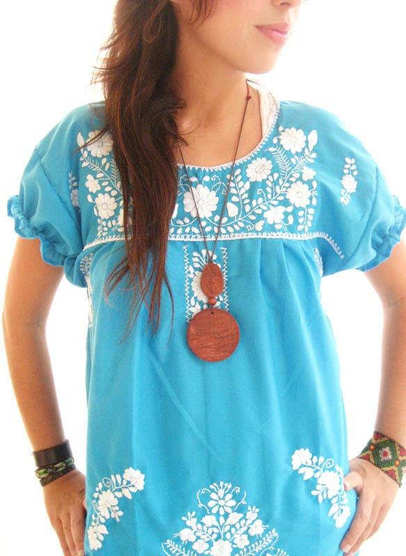 Turquoise Ocean Lover Mini embroidered Tunic