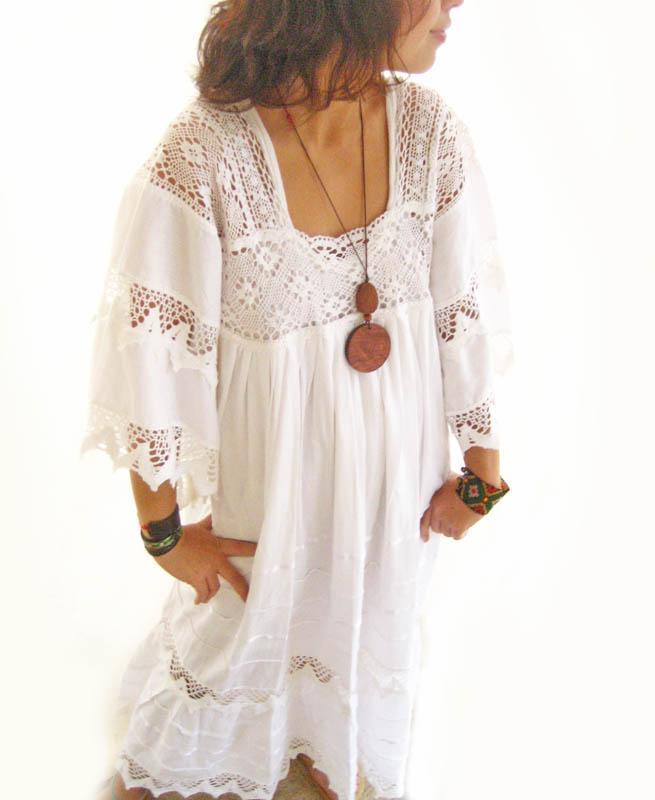 White Vintage Romantic crochet lace Mexican wedding dress