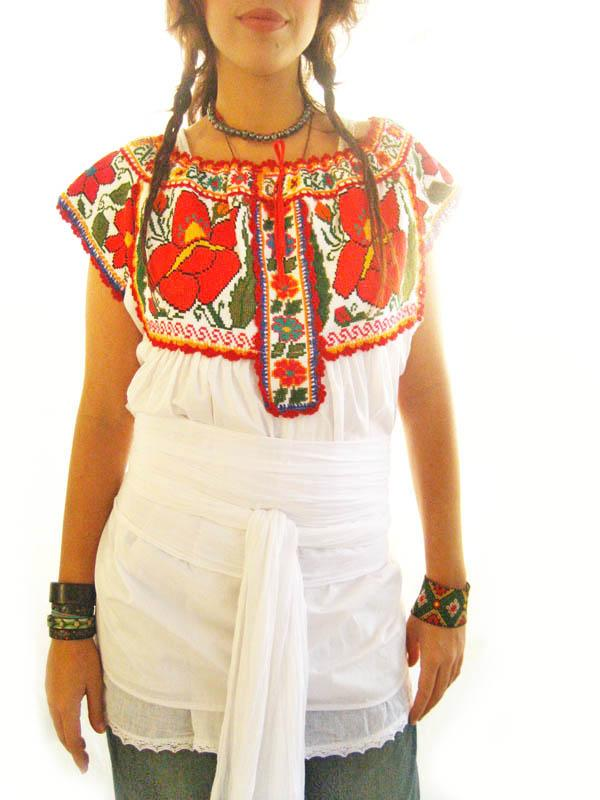 Traditional whisper Mexican embroidered blouse