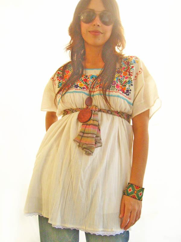 Hippie Butterfly blouse mini tunic dress