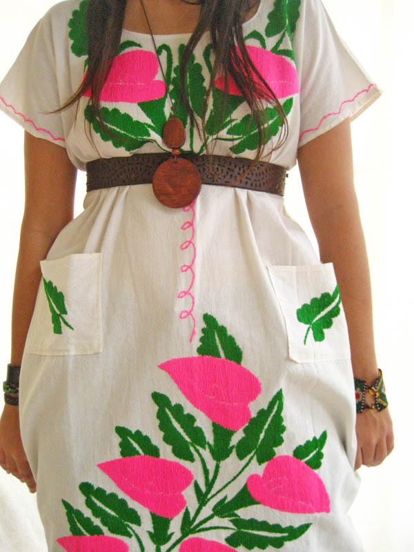 Mexican Hippie Chic Dress embroidered flowers