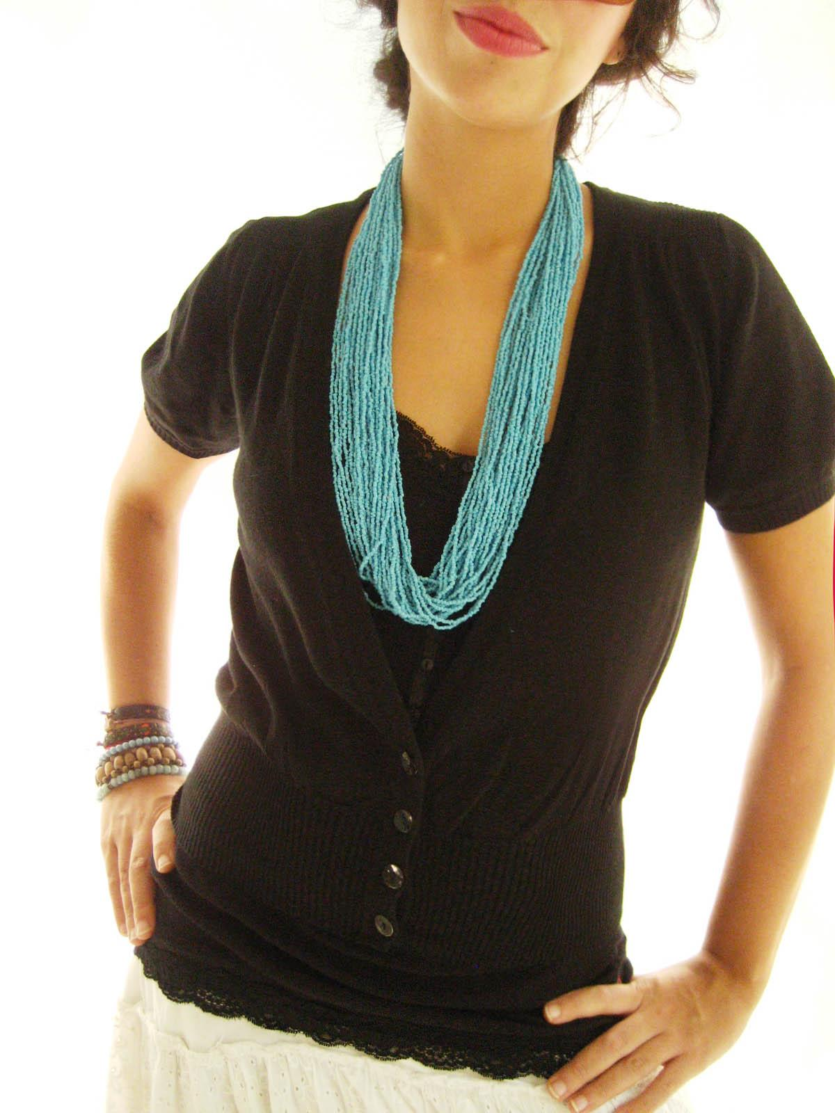 Turquoise beads ethnic necklace