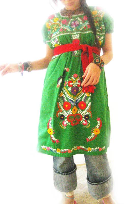 Mexican tunic embroidered Jade dress