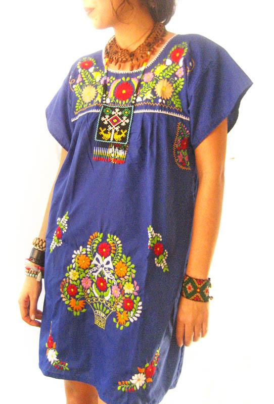 Gypsy Blue Mexican embroidered dress
