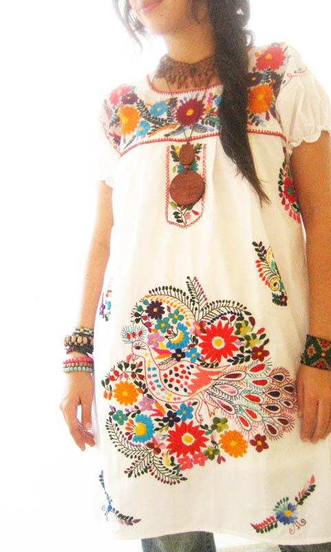 Mexican embroidered tunic tent dress