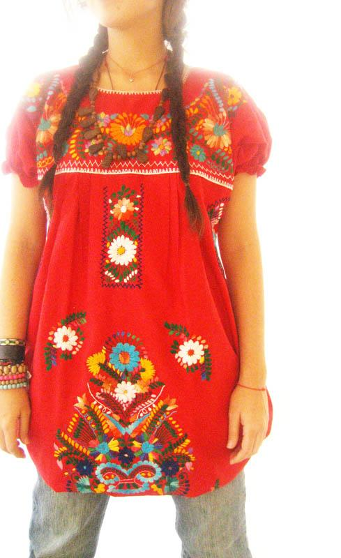 Mexican Red Long embroidered dress