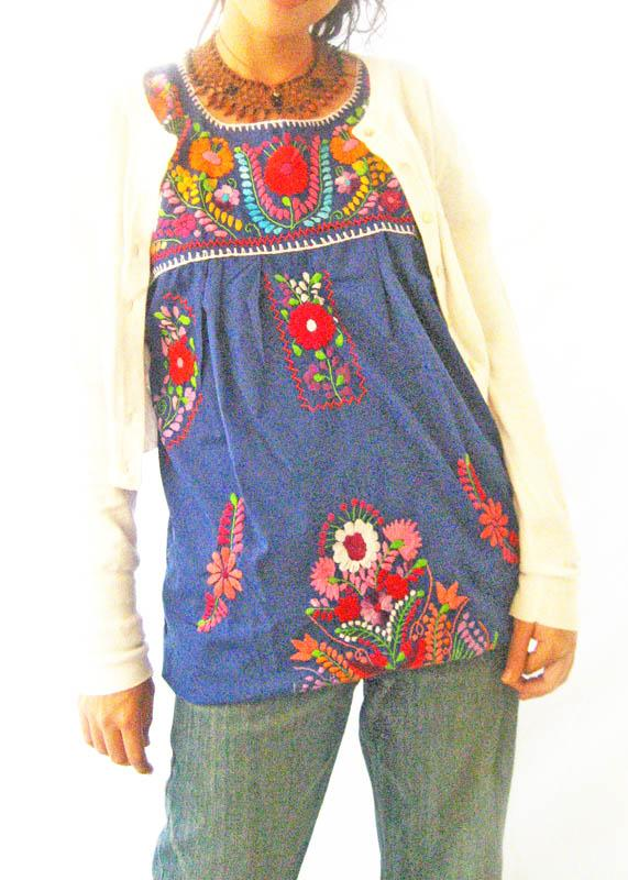 Blue Love Embroidered Tunic 1960