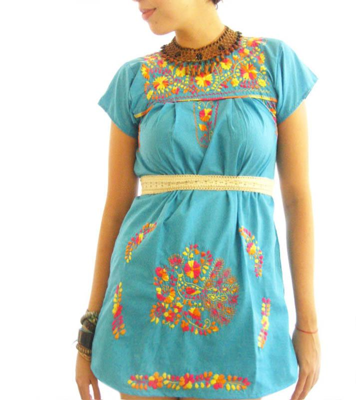 Turquoise Love mini bohemian hippie dress
