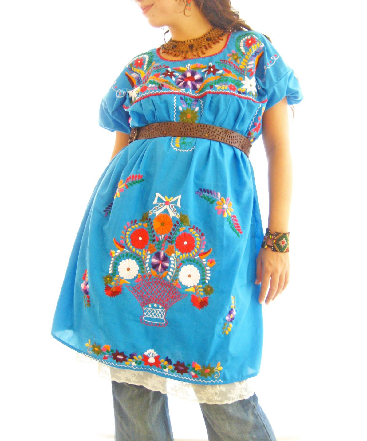 El Mar ocean blue gypsy chic embroidered summer dress