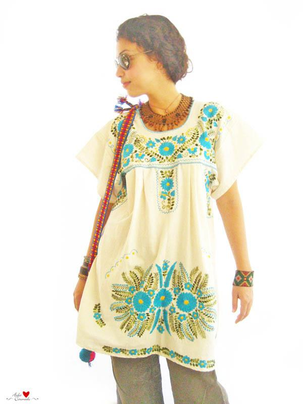 Turquoise Ocean Peace embroidered tunic