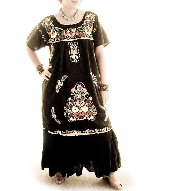 Obsidian Moon black Mexican embroidered tunic dress