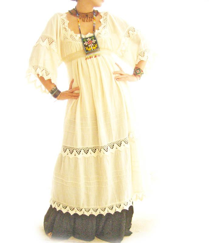 Romantic Mexico natural maxi dress vintage