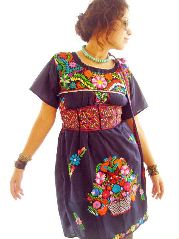 Indigo Blue embroidered tunic dress
