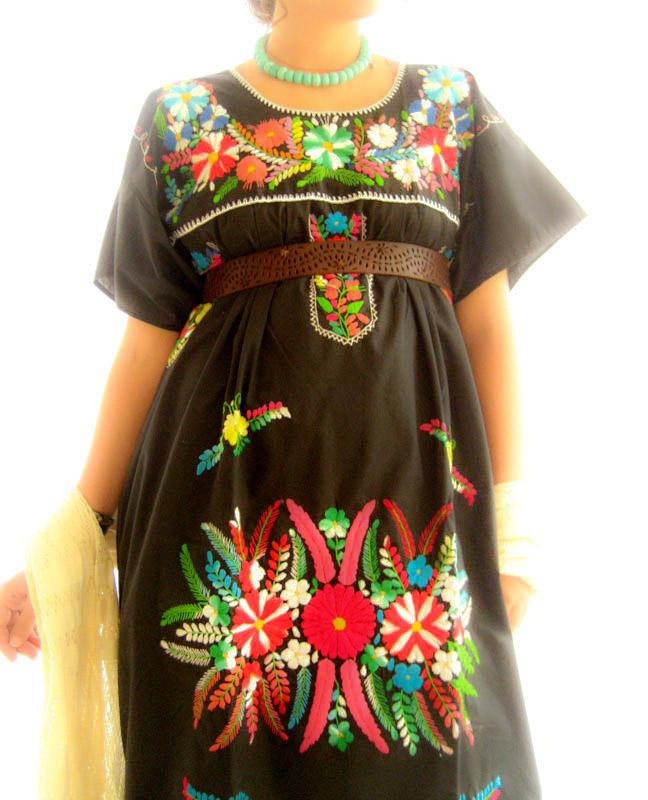 Mexicana black embroidered Maxi dress