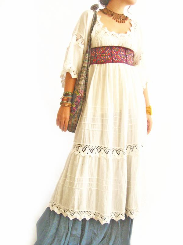 Romantic Mexico white maxi dress vintage crochet