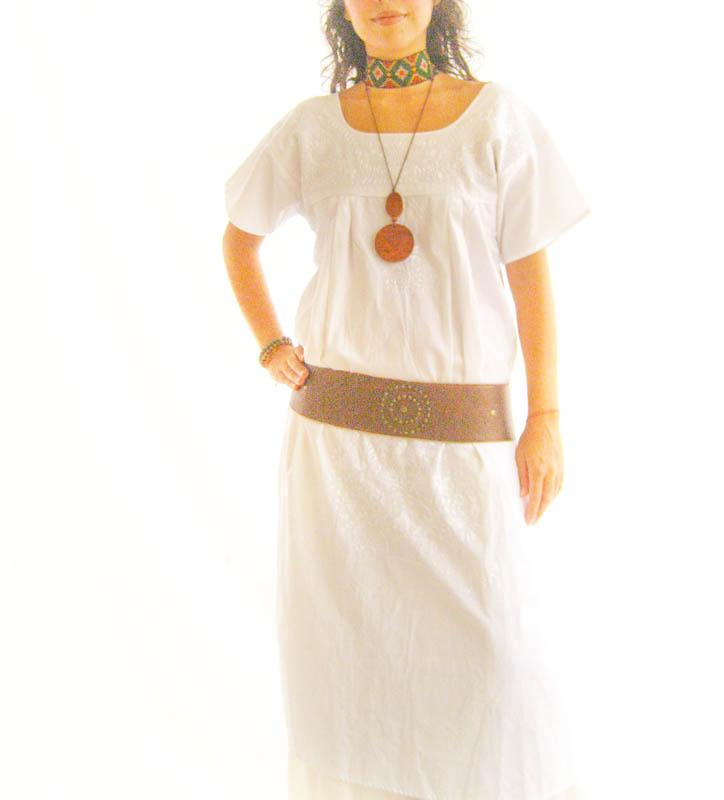 Peace Lover white Mexican silk embroidered Maxi dress