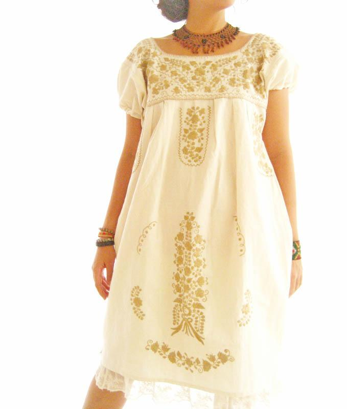 Gold Mexico vtg puff sleeve embroidered tunic dress