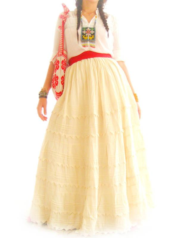 Natural Picos Mexican peasant maxi skirt