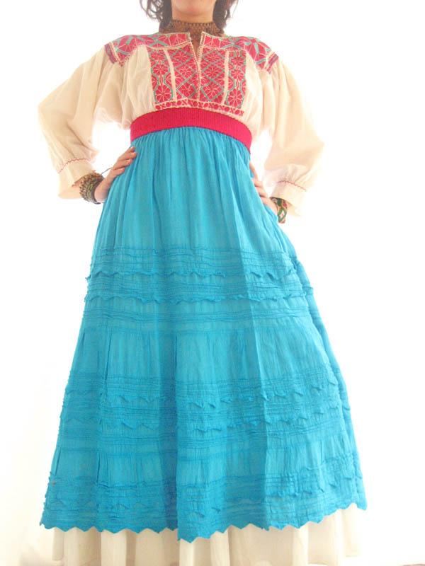 Falda de Picos Turquoise Mexican peasant maxi skirt