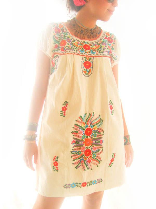 Mexican embroidered tunic dress