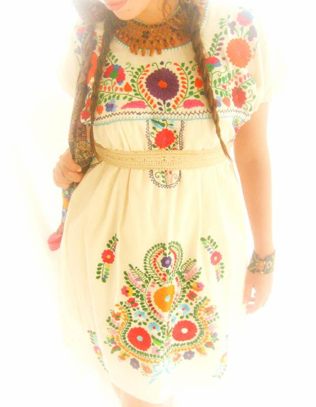 Tonantzin Mexican flowers dress embroidered tunic