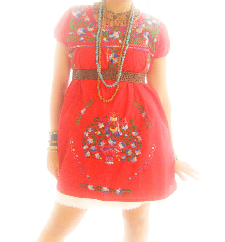 Mexico Love embroidered ethnic mini dress