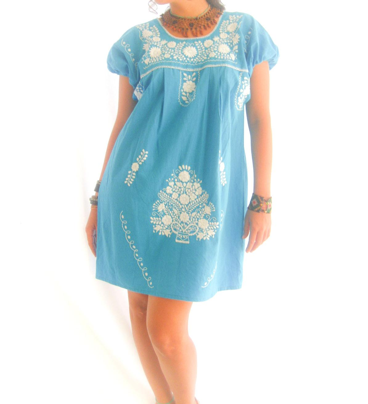 Turquoise Ocean Lover vtg Mexican summer tunic