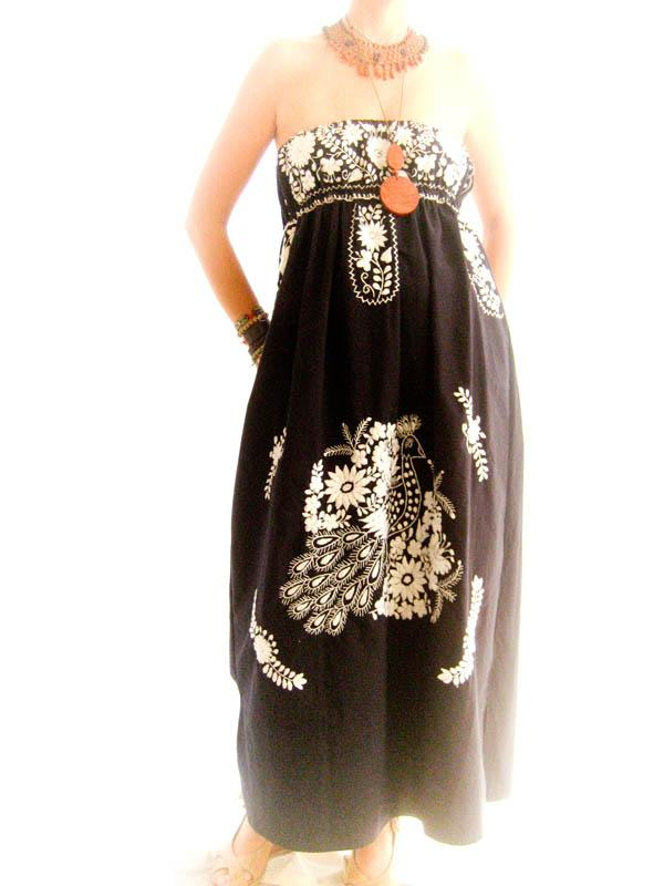 Mexican Embroidered Maxi Dress Strapless