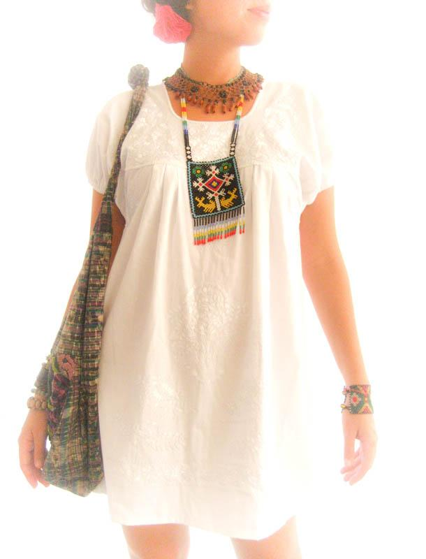 Peace Dream handmade embroidery tunic dress