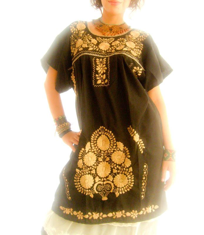 Mexican Fiesta black & gold hand embroidered dress