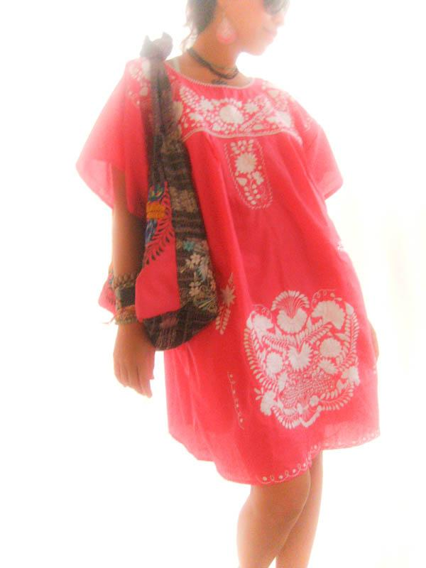 Pink Summer peasant Mexican hand embroidered tunic dress