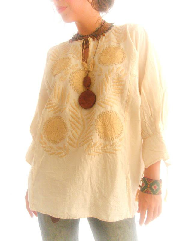 Vintage Mexican Gold ethnic embroidered elegant blouson