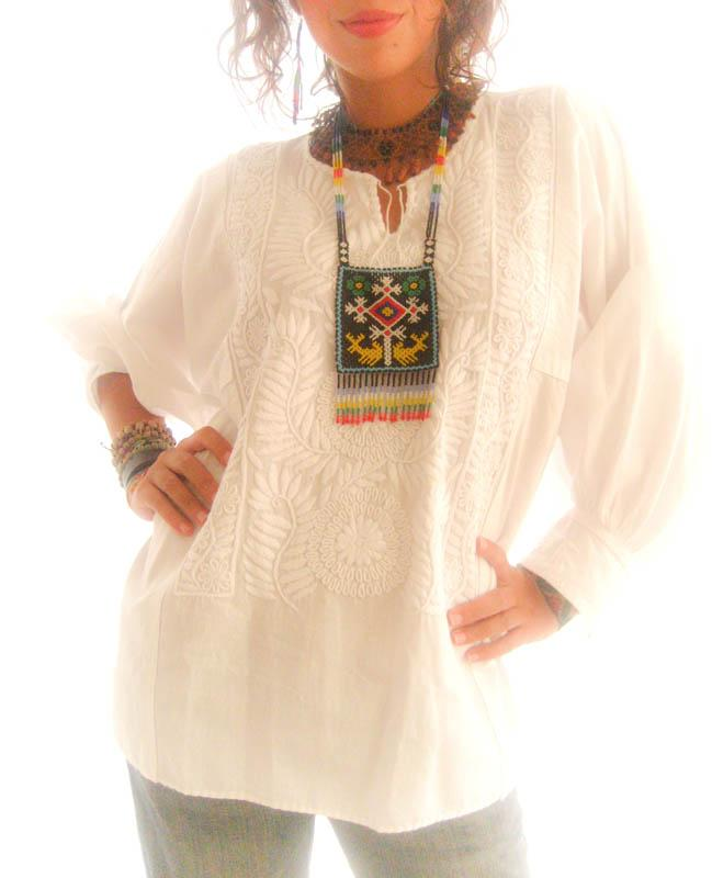 Peace White Mexican Embroidered Blouson