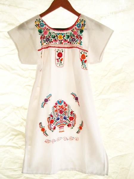 Mexican embroidered Dress Peaceful white