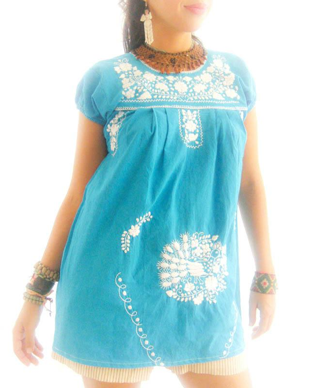 Turquoise hip vintage 60's embroidered summer dress