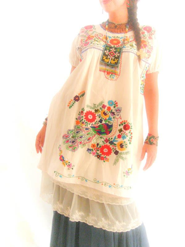 Peacock Colors Mexican embroidered bird tunic ethnic dress