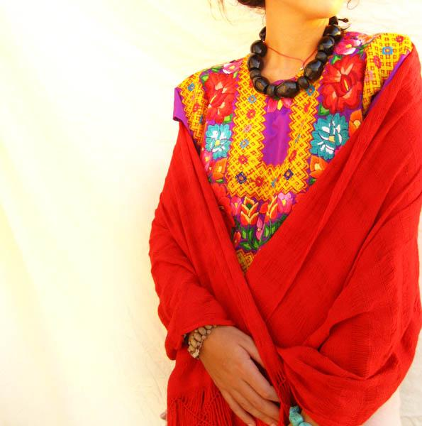 Mexican Bohemian Chic REBOZO Mexican RED