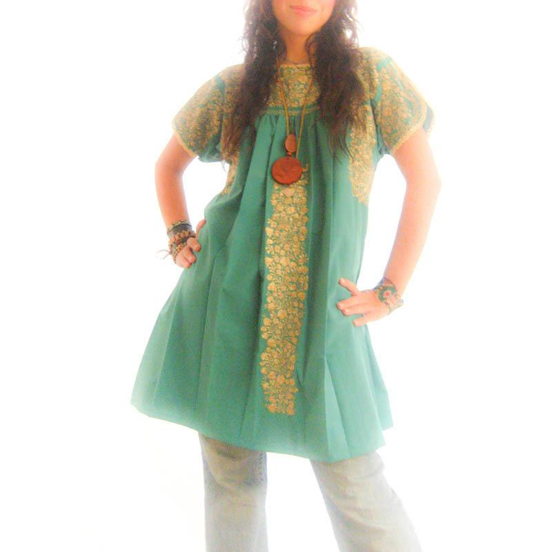 Monteverde San Antonino fine silk hand embroidered tunic dress