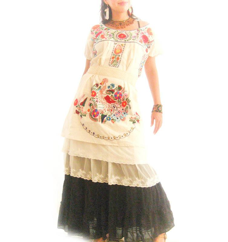 Mexican Dress Ethnic beautiful peacock embroidered Wedding