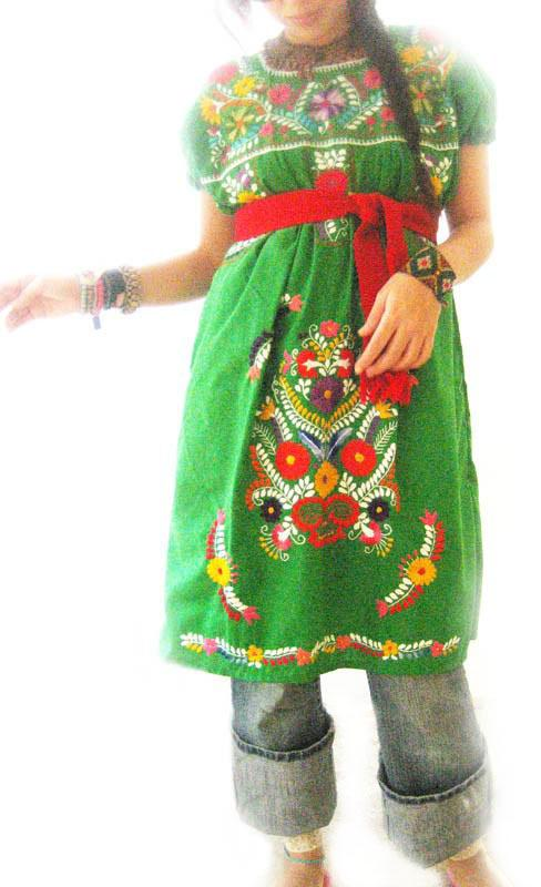 Jade green embroidered flowers tunic dress