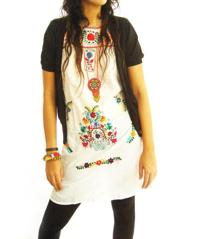 Peace Lover embroidered white dress