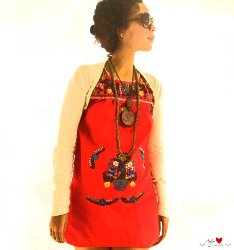 Little Mexican Dress Red embroidered tunic dress