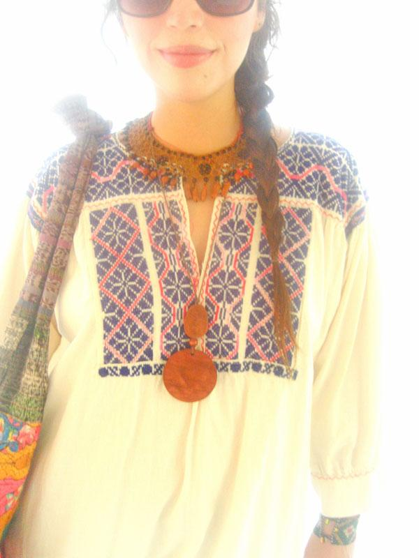 Blue Peyote Moon embroidered ethnic blouson
