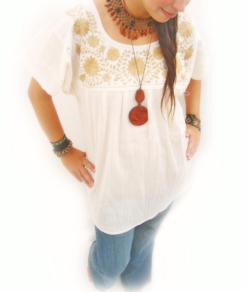 Gold vintage Mexican embroidered blouse