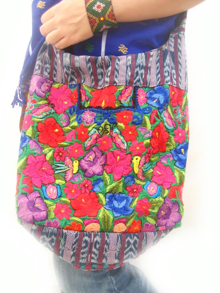 Hippie birds goddess embroidered mexican bag
