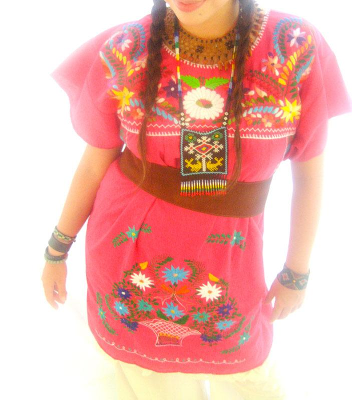Mexican Pink embroidered tunic dress