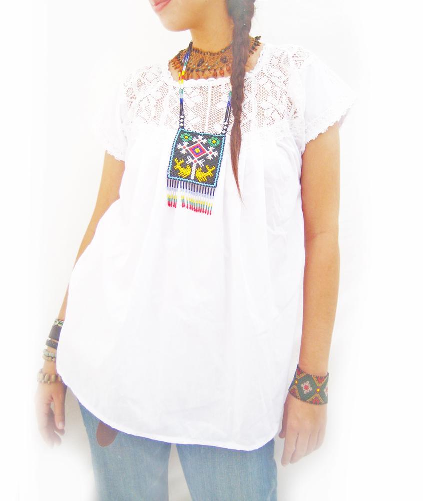 Vintage Mexico lace crochet white blouse tunic top
