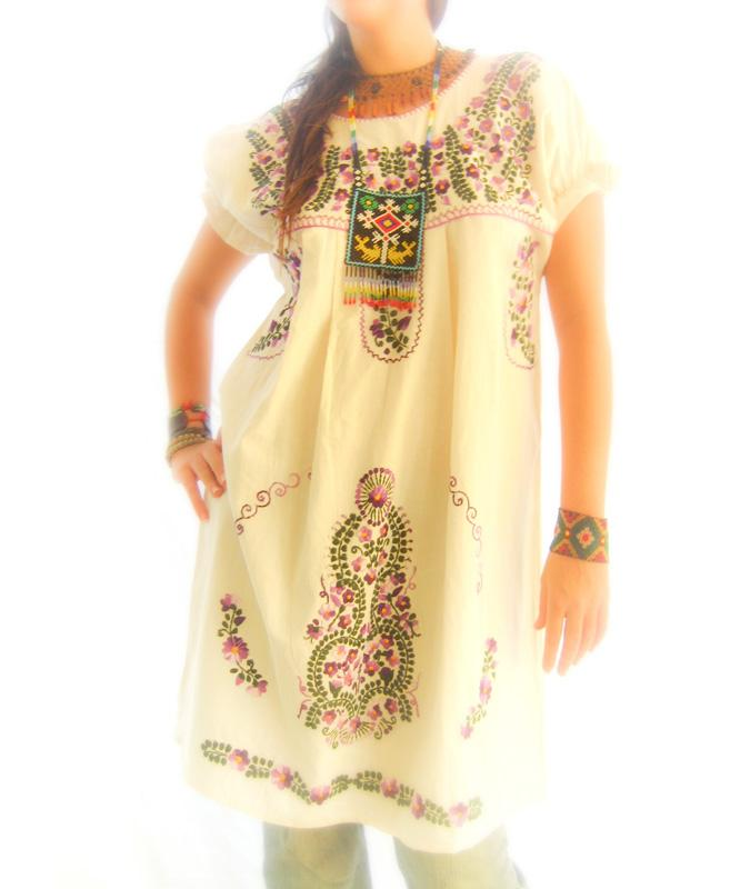 Garden embroidered Mexican dress